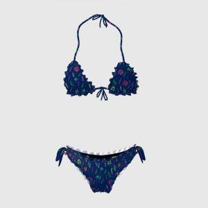 Bikini Triangolo/Slip Frou Frou Donna SeaFlowers Navy
